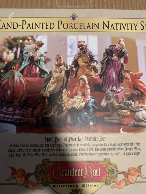 Grandeur Noel 2003 hand painted porcelain nativity set