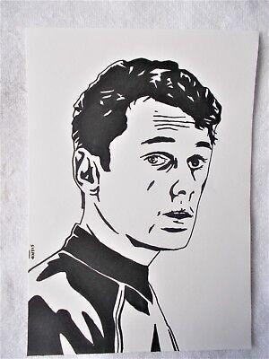 A4 Art Marker Pen Sketch Drawing Anton Yelchin as Chekov from Star Trek Poster