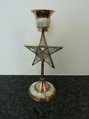 Antique brass star candlestick pearl inlays