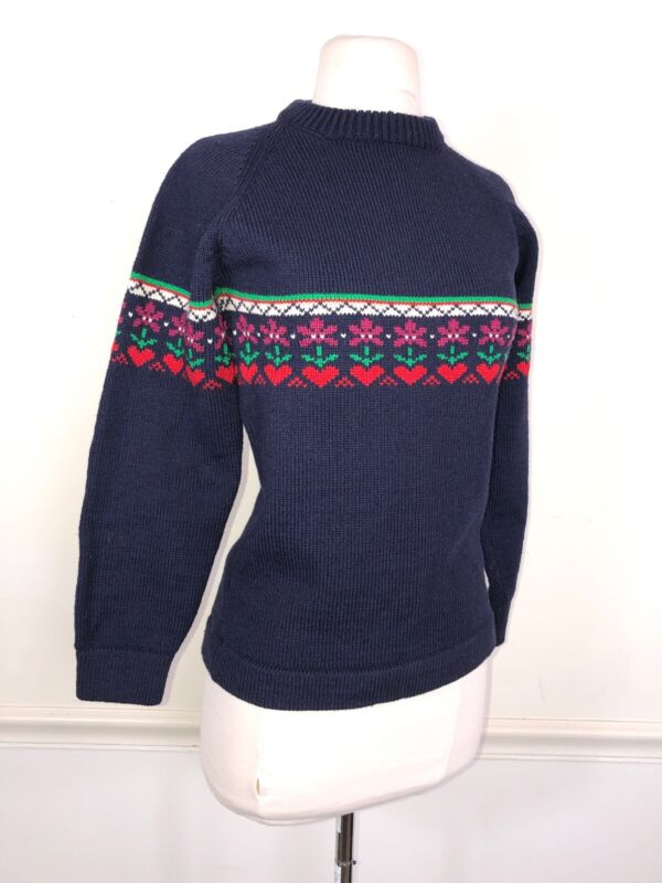 Vintage 70's Womens XS Hand Made Blue 100% Wool SKI Fair Isle Sweater VT HEAVY