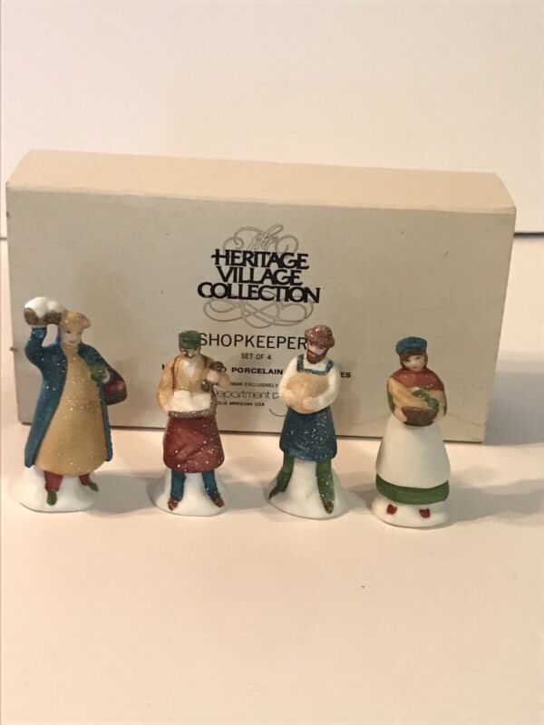 Dept 56 Heritage Village Collection Shopkeepers Set of 4 Figures Accessory