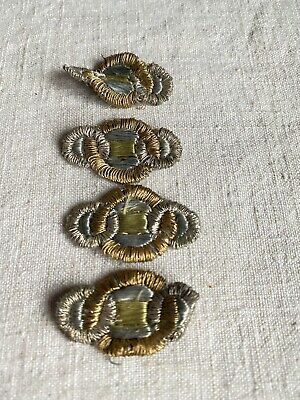Vintage Appliques Art Deco appliqués Metallic Bullion & Silk Period Costume /6pc