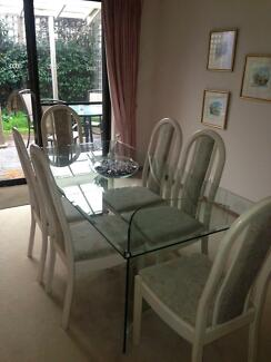 Nick Scali 6 Seat Glass Dining Table with Chairs Balhannah Adelaide Hills Preview