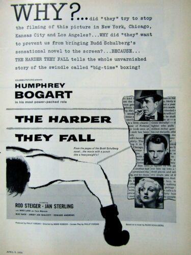"Humphrey Bogart-Rod Steiger 1956 Harder They Fall Original Print Ad 8.5 x 11"""