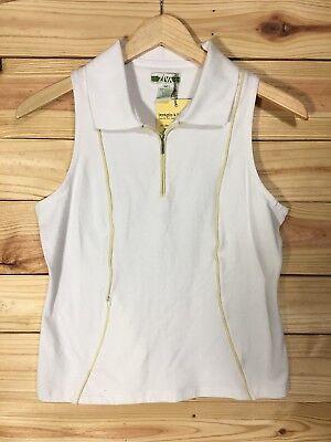 Golf Polo Shirt Diva white/tan sleeveless 1/2 zip stretch golf polo sz M top Nwt