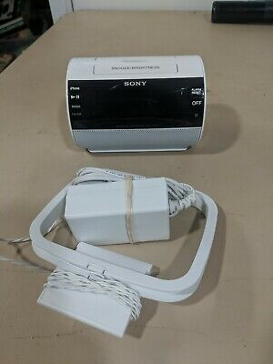 Sony AM/FM Clock Radio iPhone iPod Dock Alarm ICF-C11IP White Excellent