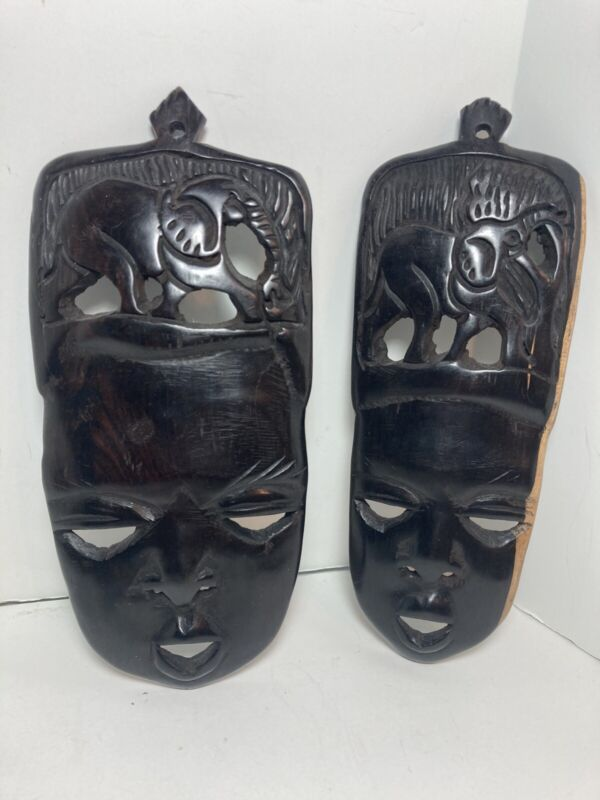 """African Hand Carved Ironwood Mask Elephant 10"""" Set Of 2 Wall Hanging"""