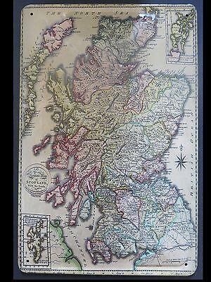 SCHOTTLAND Blechschild Karte Landkarte Retro Scotland Schild Highlander NEU