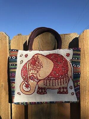 Medium Zippered Canvas Tote Bag Multi Colored with an Elephant Theme