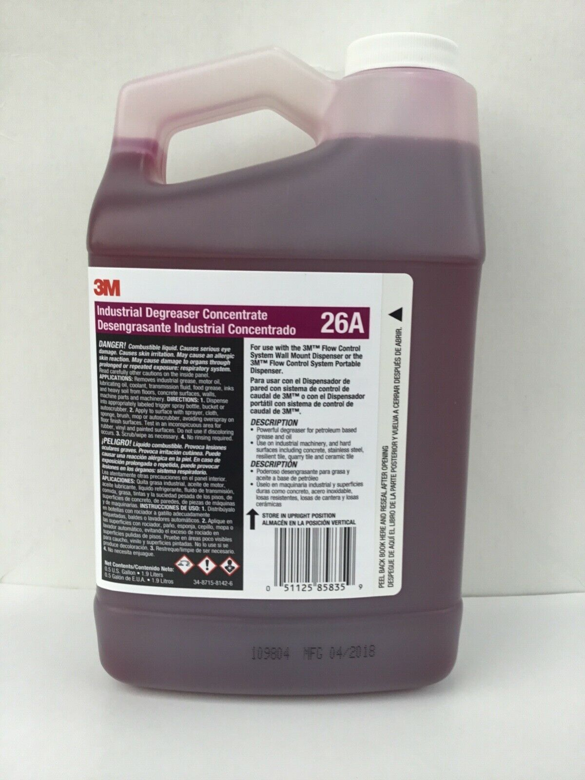3M Industrial Degreaser concentrate 1.9L,Red,Mild Fresh