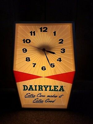 Vintage Dairylea Dairy Milk Cow Farm Advertising Wall Table Top Shelf Clock for sale  Ellicott City