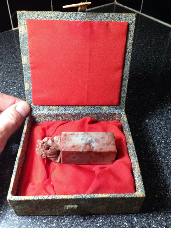 Chinese Exquisite Hand-carved Soapstone Ink Stamp With Box.