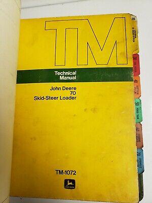 John Deere 60-70-170 Skid Steer Loader Technical Manual Tm-1075 Tm-1072 Tm-1185