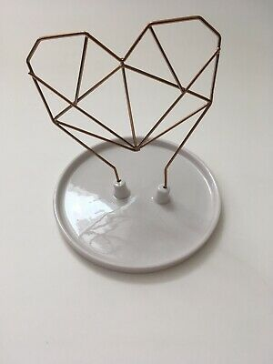 Imm Living Ceramic Jewelry Holder - Rose Gold Wire Heart, New w/out original box