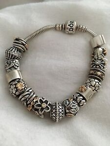 Pandora two-tone bracelet: 14 charms, 3 clips worth over $1050!