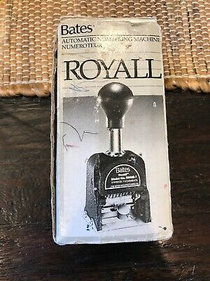 Vintage Bates Royall Automatic Metal Numbering Stamp Machine Rnm6-7