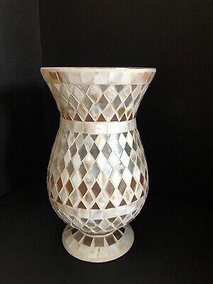 White Mosaic Glass Vase Silk Fresh Flower Arrangement Centerpiece Decoration