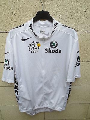 Maillot BLANC TOUR de FRANCE 2007 NIKE Skoda shirt trikot CONTADOR camiseta...