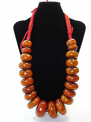 LARGE AFRICAN BERBER RESIN BEADS WITH METAL INSERS ETHNIC NECKLACE FROM MOROCCO
