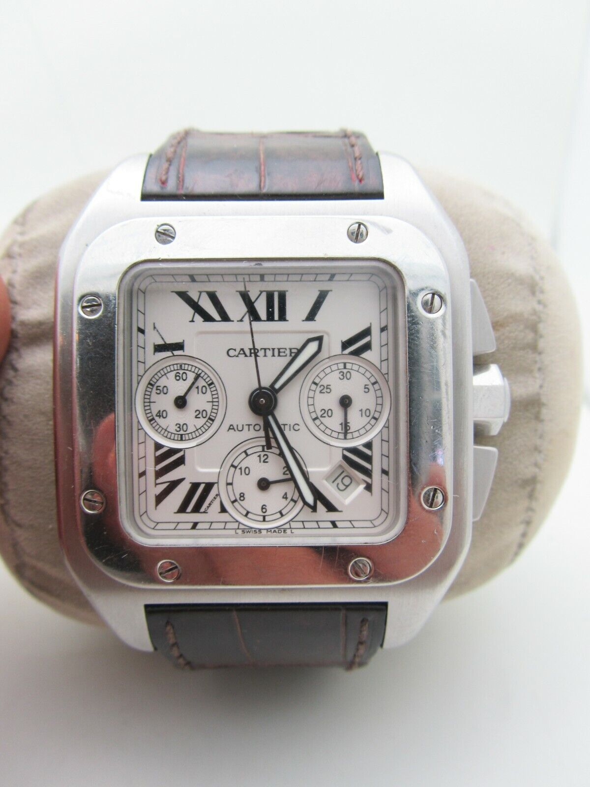Pre-owned Cartier Santos Men's Chrono. Automatic SS watch 208195LX 2740 - watch picture 1