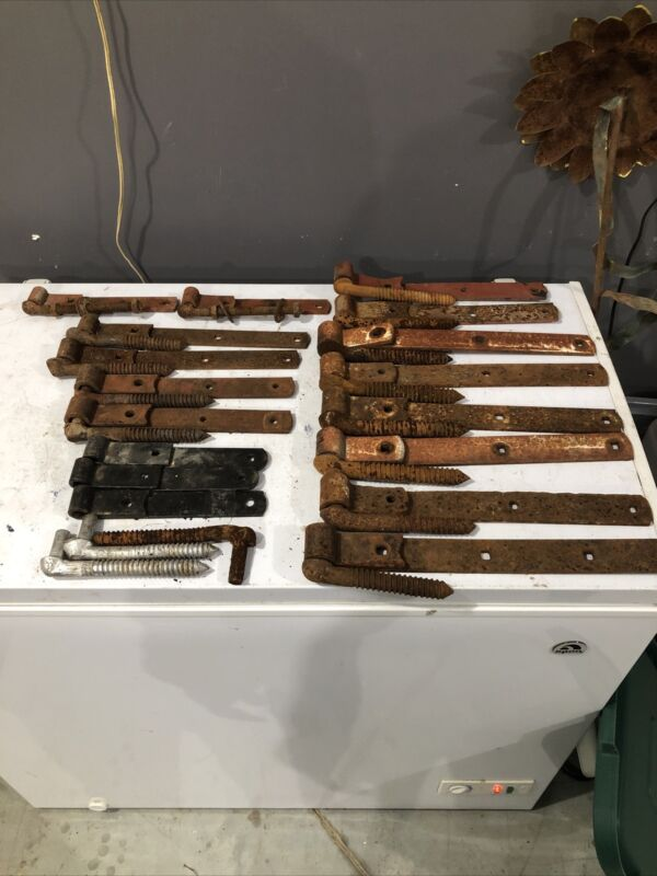 """Lot Of 17 Antique Barn Door Gate Strap Hinges With Bolts From 8"""" To 16"""""""