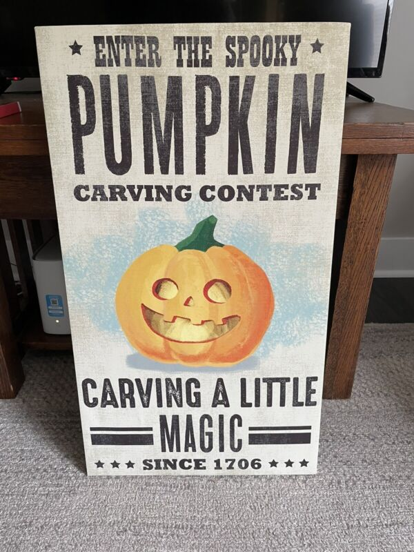 Canvas Like Wall Hanging Halloween Pumpkin Carving Contest Sign Local Pickup