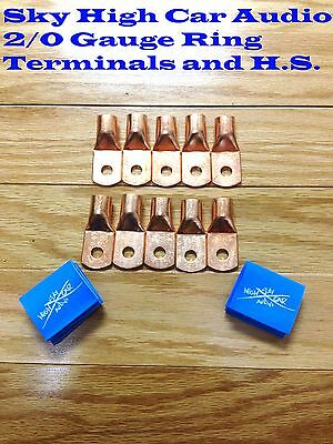 10 20 Gauge Copper Ring Terminals W 10 Blue Heat Shrink Tubing Lugs 38