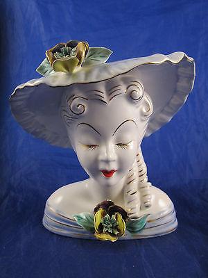 Vintage Scarlet O'Hara Gone with the Wind Head Vase Japan Pottery Blue Hat