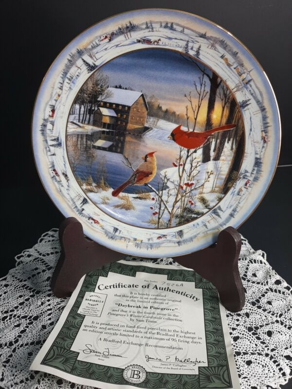 1993 Collectors Plate Daybreak In Pine Grove By Sam Timm Cardinals Birds Winter