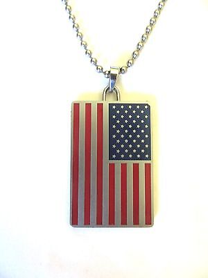 - Brushed Stainless Steel USA Flag with Pledge allegiance Dog Tag Ball Chain 22