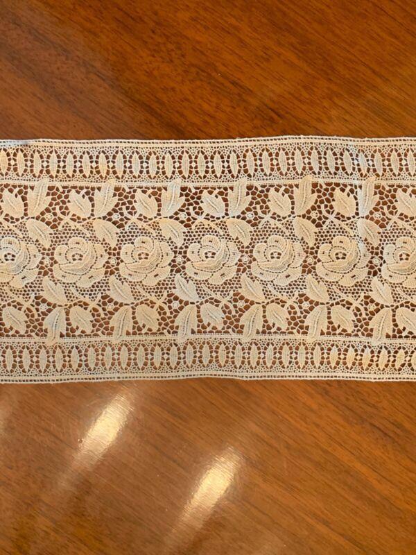Rare Antique Embroidered Ecru Lace Trim 2.2 Yards