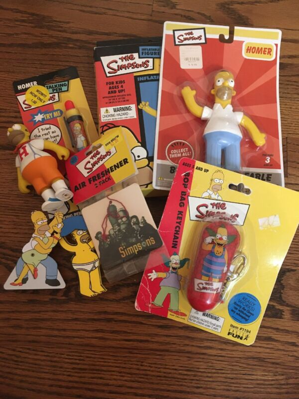The Simpsons Lot Of 8 Novelty Toys Keychain Bendable Inflatable Click Pen Homer