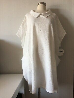 NWT MORDENMISS WHITE FRONT POCKETS COLLAR COTTON BLEND TUNIC TOP ONE SIZE One Pocket Tunic