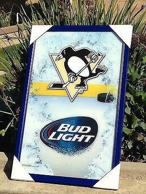 "Bud Light Pittsburgh Penguins NHL Champs Hockey Beer Bar Mirror Frame   ""New"""