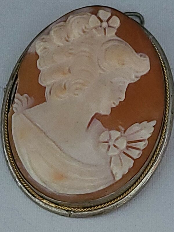 Cameo (Carved Shell) VTG Pendant & Brooch/Pin 800 Silver and Gold Setting