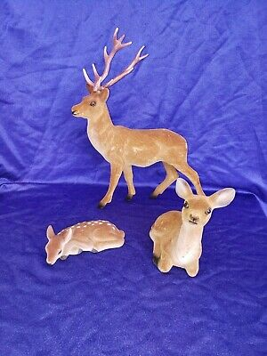 Deer Family 3 Piece Set Flocked Finish  Family 3 Piece Set