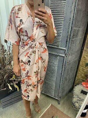 Hope And Ivy - Kimono Knot Front Dress - Size 10 - Asos