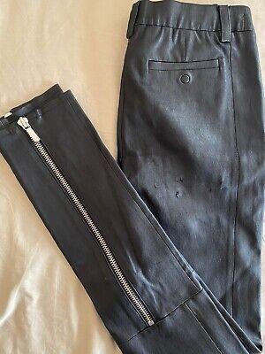 J Brand Stretch Soft Lamb Black Leather Size 2 Zipper Hem Leggings Pants