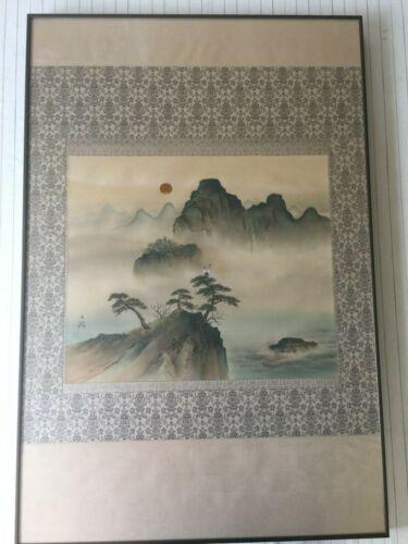 Vintage Chinese Handpainted on Silk Landscape, Signed by Artist, Framed