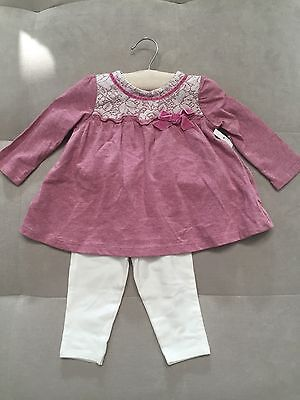 NWT Wendy Belissimo Girl Outfit Set 9 Month Ruffled Top Pants Pink White Lace White Ruffled Top Outfit