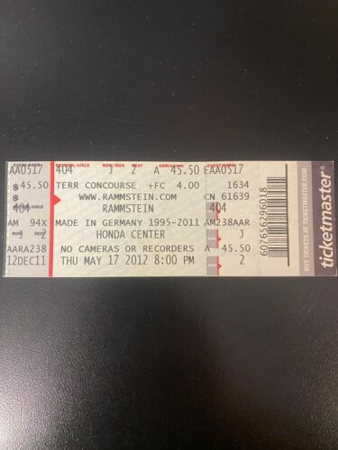 Rammstein Made in Germany Tour Honda Center Concert Ticket 5/17/2012
