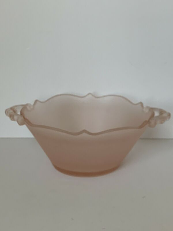 Vintage 1930's Hocking Frosted Satin Pink Depression Glass Bowl/Dish w/Handles
