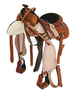 "WESTERN SADDLE PACKAGE CARVED LIGHT OIL /NATURAL BLACK SEAT 17"" (10104) *NEW*"