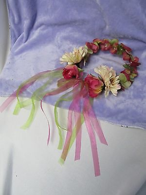 USA Silk Flower Head Wreath with Fuchsia Green /Hand Crafted