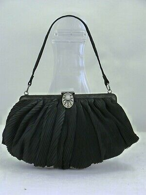 1920s Handbags, Purses, and Shopping Bag Styles VINTAGE DECO HANDBAG PURSE 1920s 1930s Small BLACK with Rhinestone Clasp $16.58 AT vintagedancer.com