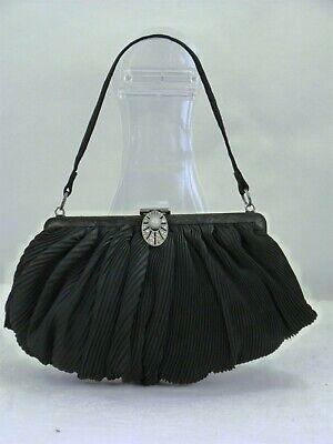 1920s Style Purses, Flapper Bags, Handbags VINTAGE DECO HANDBAG PURSE 1920s 1930s Small BLACK with Rhinestone Clasp $16.58 AT vintagedancer.com