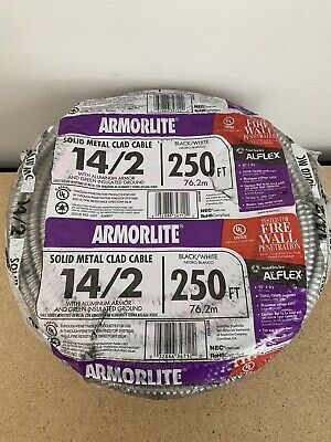 New Southwire Armorlite Solid Metal Clad Cable 142 Blackwhite 250 Ft