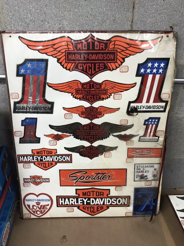 Original VINTAGE HARLEY DAVIDSON Dealership Sticker Decal display Sign (A)