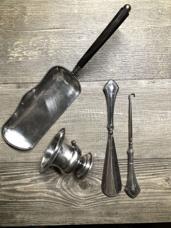 Small Lot Of Antique Silver Plated Items, Table Dustpan, Boot Lace Pull ...