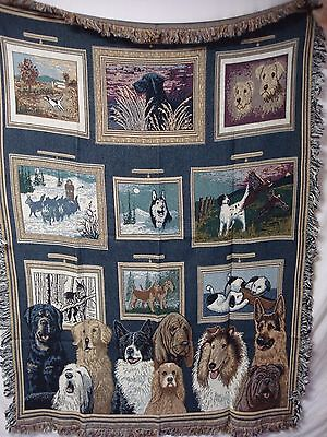 USA Made NWOT Dog Days At The Gallery Tapestry Throw Blanket Afghan #418